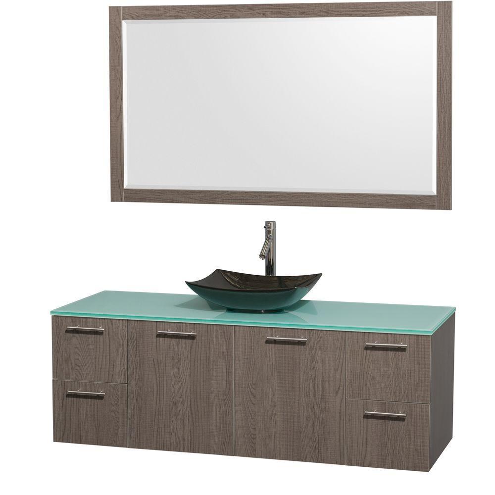 Amare 60 in. Vanity in Gray Oak with Glass Vanity Top in Green, Granite Sink and 58 in. Mirror