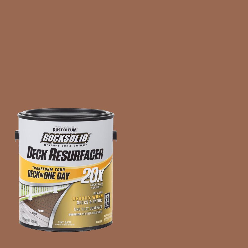 Rust Oleum Rocksolid 1 Gal Redwood Exterior 20x Deck Resurfacer 319400 The Home Depot