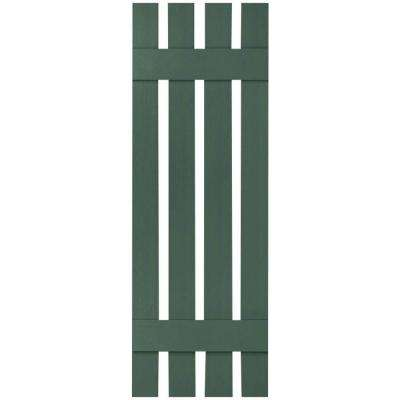 16-1/4 in. x 48 in. Lifetime Vinyl Custom Four Board Spaced Board and Batten Shutters Pair Forest Green