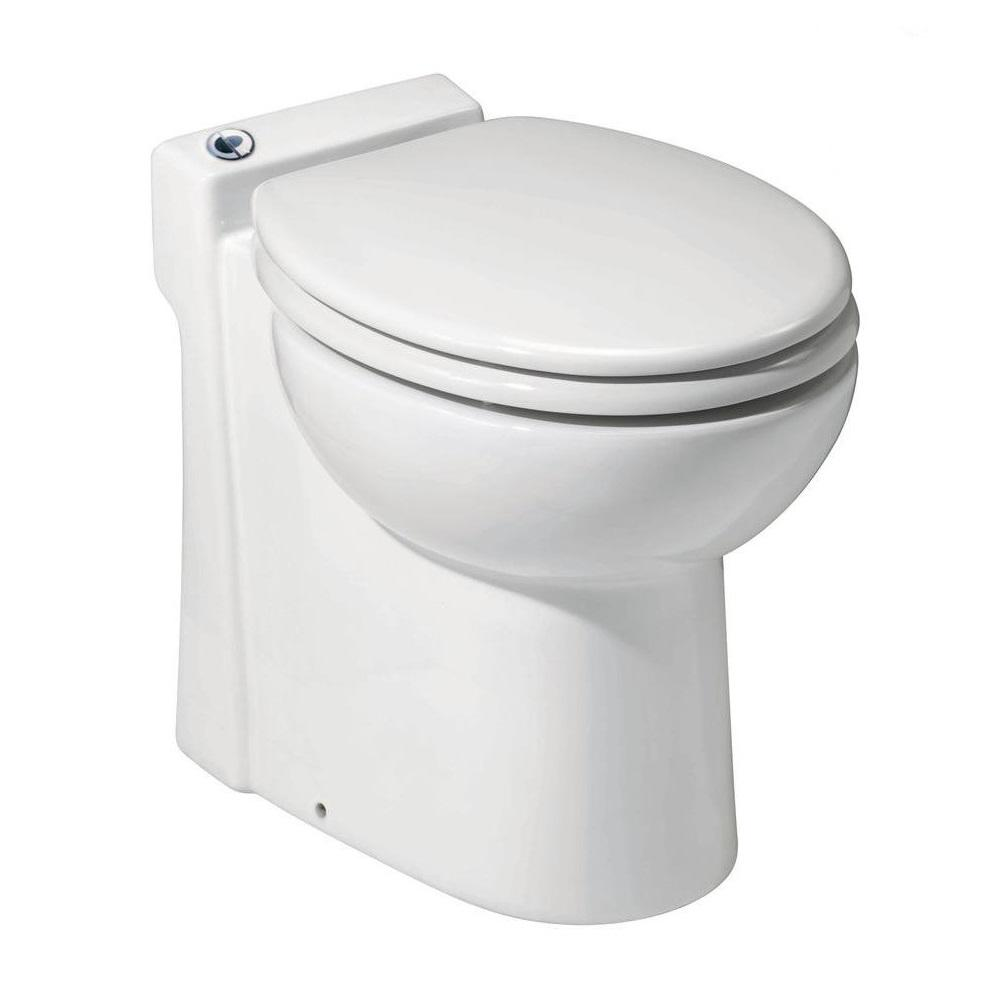 Saniflo Sanicompact 1 Piece 1 28 1 Gpf Dual Flush Elongated Toilet In White With Built In 0 3 Hp 115 Volt Macerator Pump 023 The Home Depot