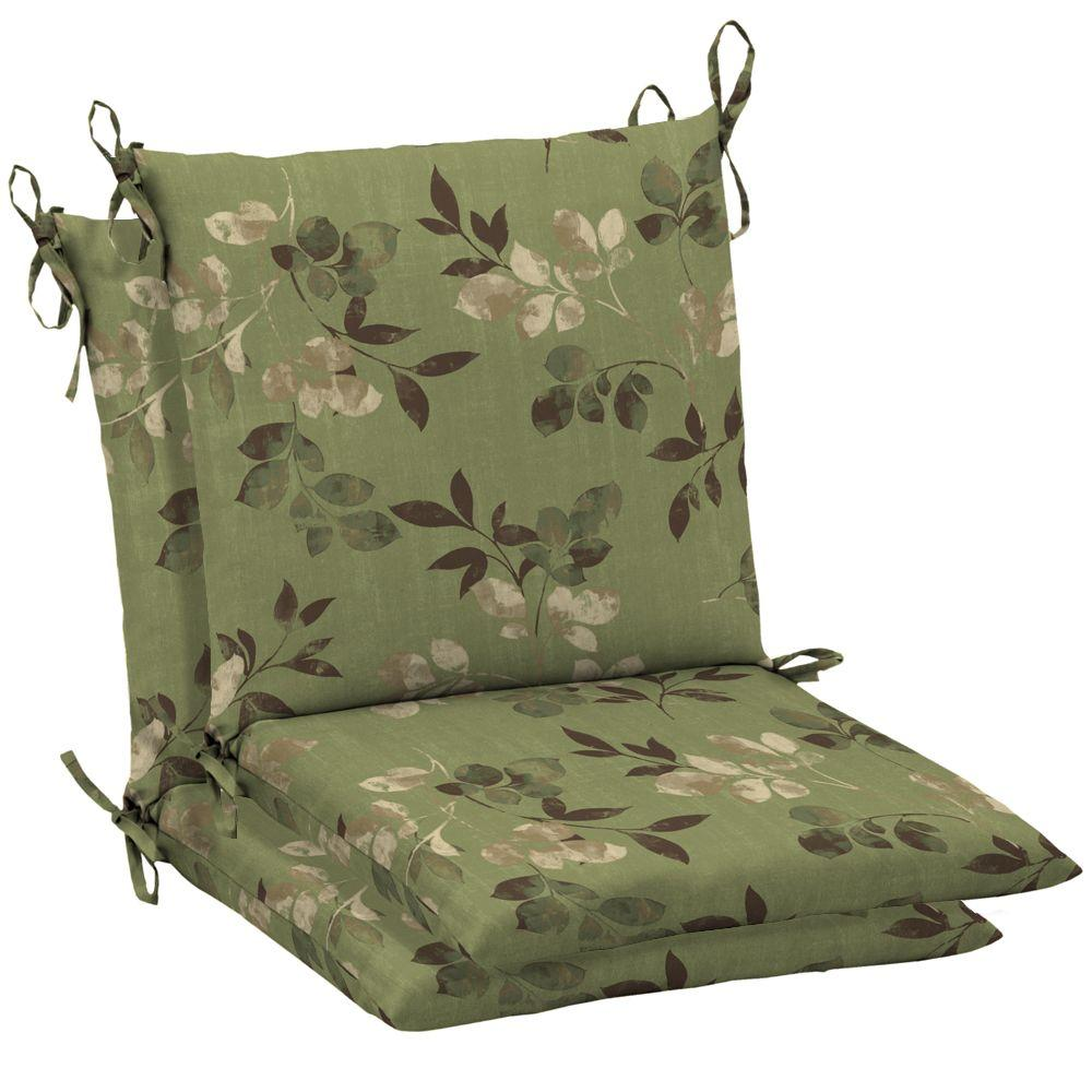 Hampton Bay Parson Mid Back Outdoor Chair Cushion (2-Pack)-DISCONTINUED