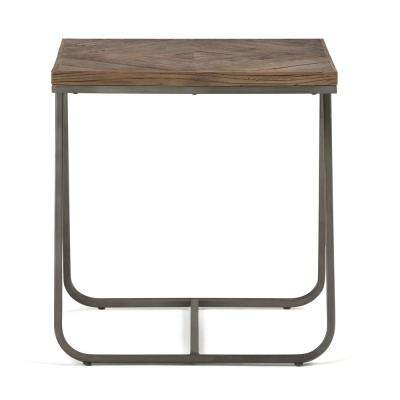 Hailey Distressed Java Brown Wood Inlay End Side Table