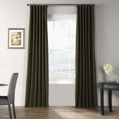 French Green Bark Weave Solid Cotton Curtain - 50 in. W x 120 in. L