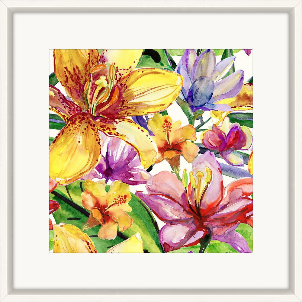 melissa van hise 25 in x 25 in watercolor flowers i framed