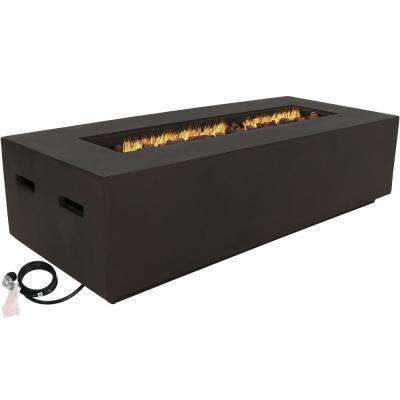 56 in. Rectangular Fiberglass Propane Gas Fire Pit Coffee Table with Lava Rocks in Brown