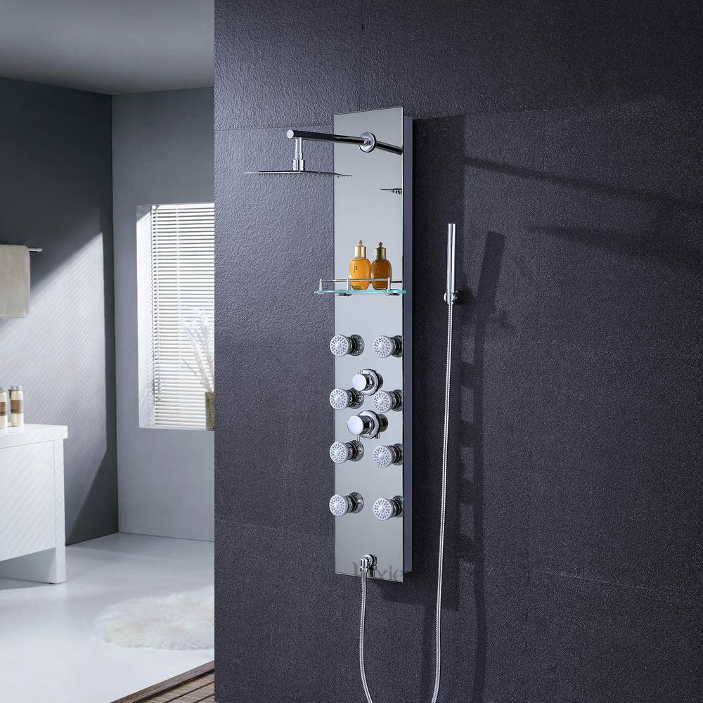 Luxier 51 Aluminum Safety Silver Tempered Gl Rainfall Shower Panel Tower Rain Mage System Faucet