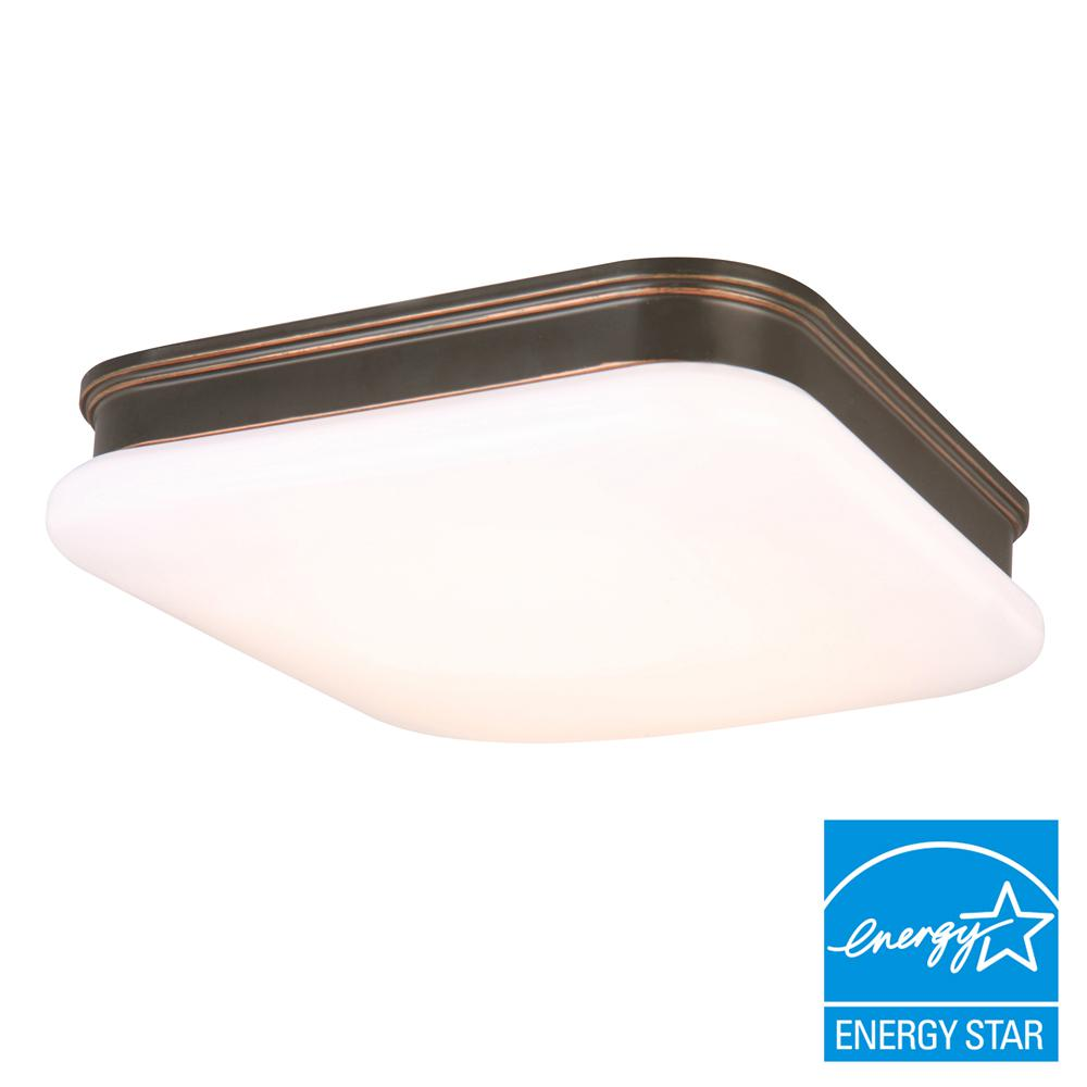 11 in. 120-Watt Equivalent Oil-Rubbed Bronze Square Integrated LED Flushmount