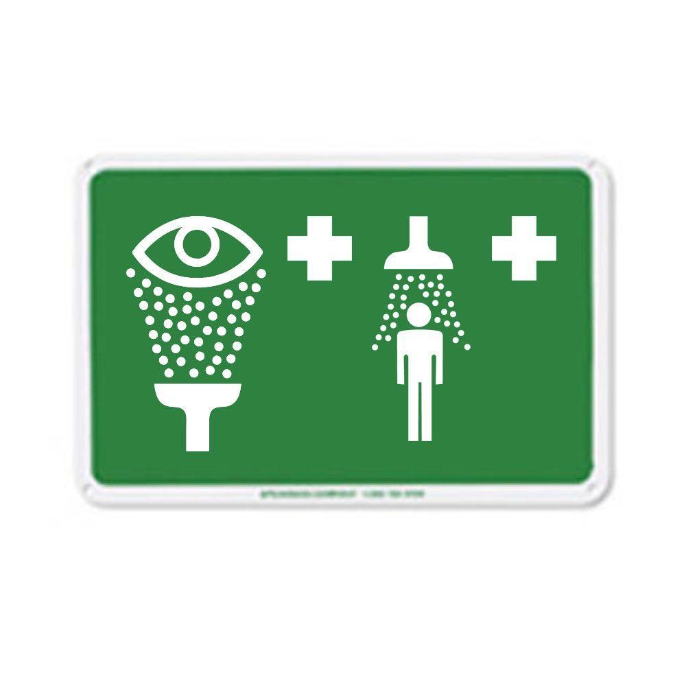 Speakman 12 inch x 7.875 inch Green on White Aluminum Safety Sign by Speakman