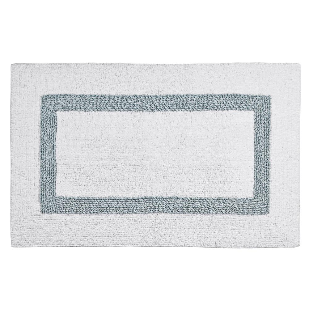 Hotel Collection Bath Mats: Hotel Collection White And Blue 21 In. X 34 In. Cotton