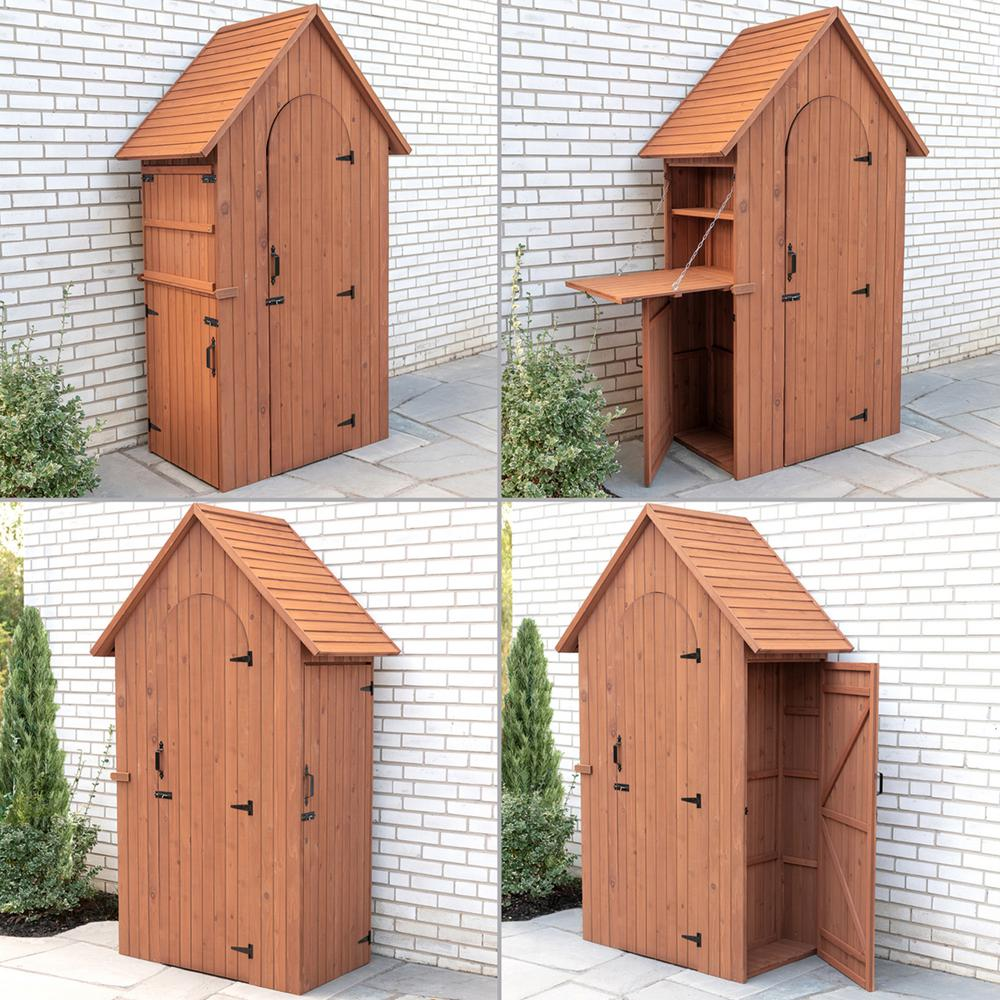 Leisure Season 45 in. W x 28 in. D x 83 in. H Medium Brown Cypress Multi-Compartment Shed with Drop Table