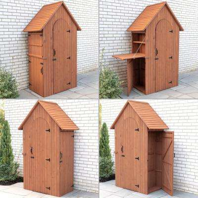 45 in. W x 28 in. D x 83 in. H Medium Brown Cypress Multi-Compartment Shed with Drop Table