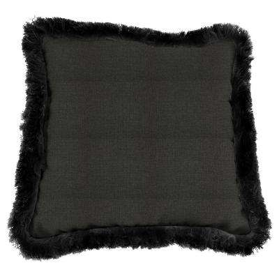 Sunbrella Spectrum Carbon Square Outdoor Throw Pillow with Black Fringe