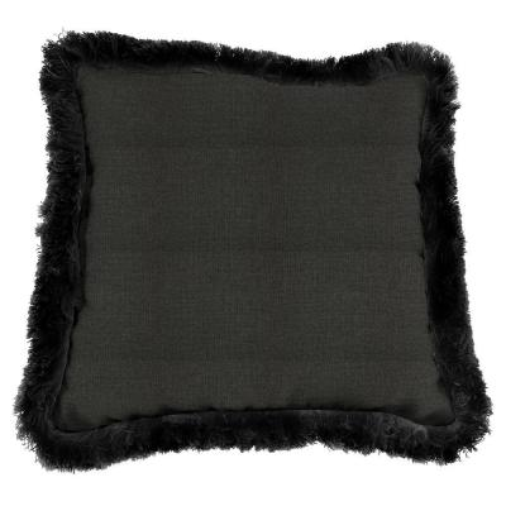 Sunbrella Spectrum Carbon Square Outdoor Throw Pillow with Black Fringe