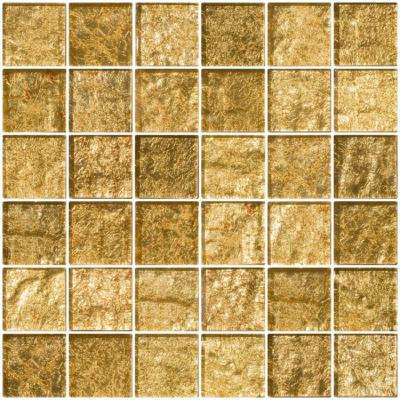 12 in. x 12 in. x 8 mm Tile'ESQUE Champagne Shimmer Metallic Glass Mesh-Mounted Mosaic Tile