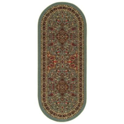 Ottohome Collection Seafoam Oriental Design 2 ft. x 5 ft. Oval Area Rug