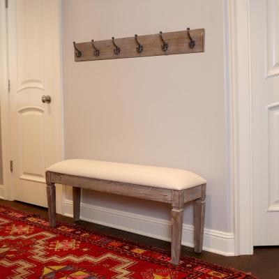 Waverly Off-White Bench with Coat Rack
