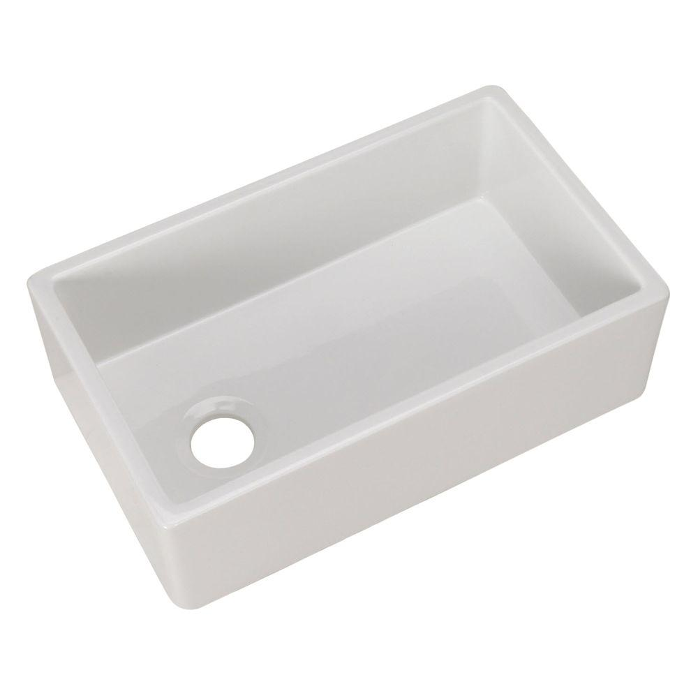 Farmhouse Apron Front Fireclay 30 in. Single Bowl Kitchen Sink in