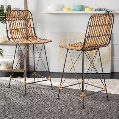 Minerva 23.6 in. Wicker Counter Stool in Natural Brown Wash