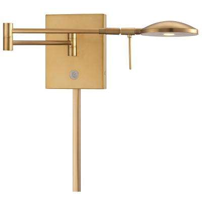 George's Reading Room 8-Watt Honey Gold Integrated LED Swing Arm