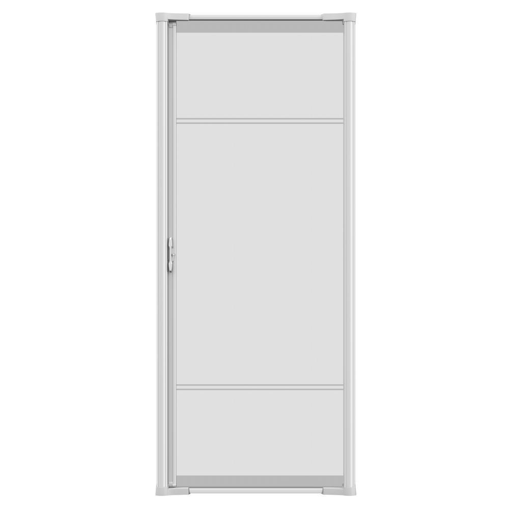 36 in. x 79 in. Brisa White Short Retractable Screen Door