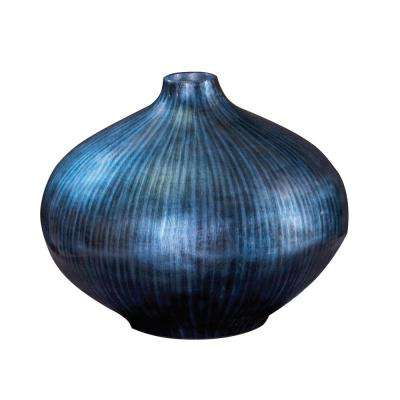 Medium Arctic Blue Lacquered Wood Decorative Vase
