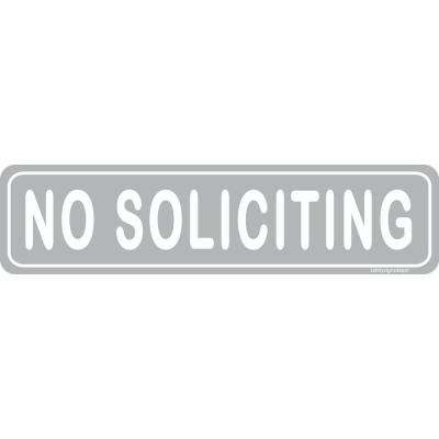 2 in. x 8 in. Grey Plastic No Soliciting Sign for Retail Business Office Sign (2-Pack)