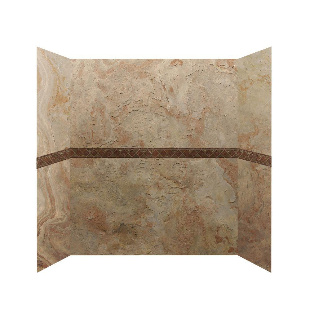 null 30 in. x 60 in. x 76 in. 4 Panel Shower Surround with Design Strips in Golden Sand-DISCONTINUED