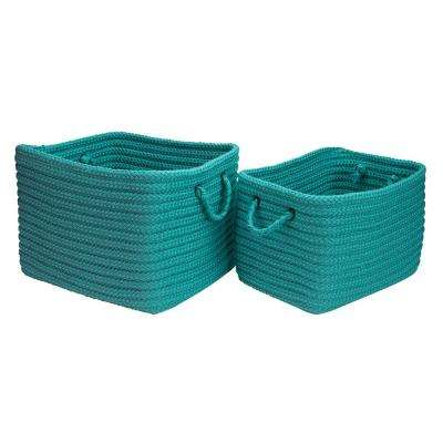 12 in. x 10 in. x 8 in. Modern Mudroom Polypropylene Storage in Aqua