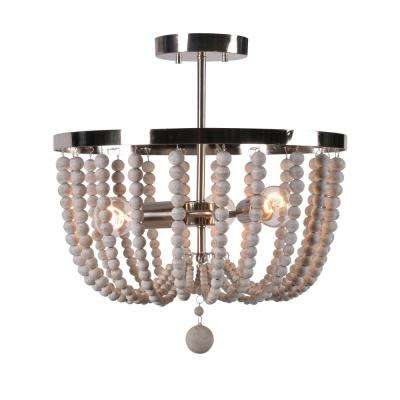 Dumas 3-Light Brushed Steel Wood Bead Semi-Flush Mount light