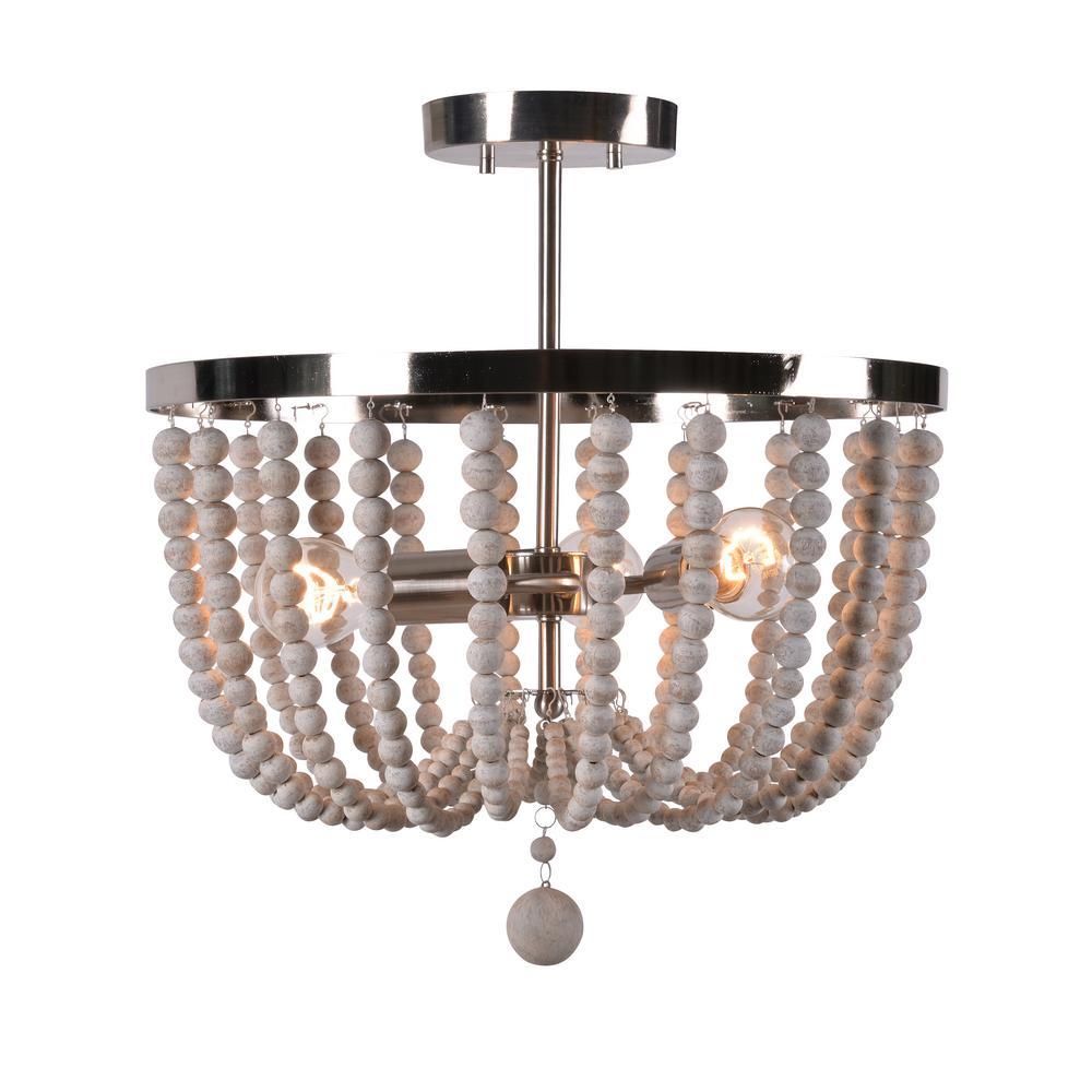 Dumas 3-Light Brushed Steel Wood Bead Semi-Flush Mount light