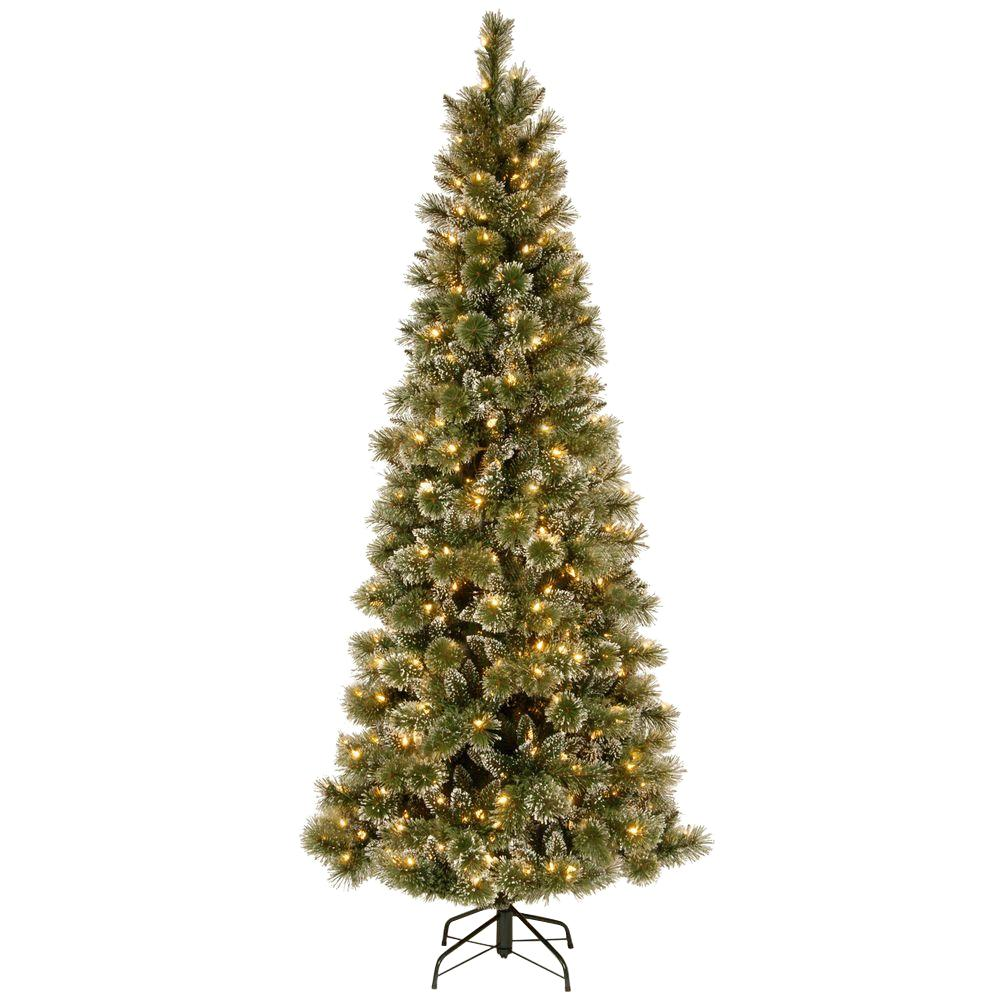 national tree company 75 ft glittery bristle pine slim artificial christmas tree with warm white led lights - Slim Christmas Tree With Led Lights