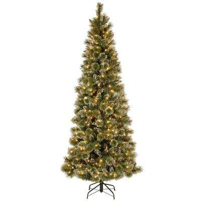 Glittery Bristle Pine Slim Artificial Christmas Tree with Warm White LED  Lights - 7.5 Ft - Slim - Warm White - Pre-Lit Christmas Trees - Artificial