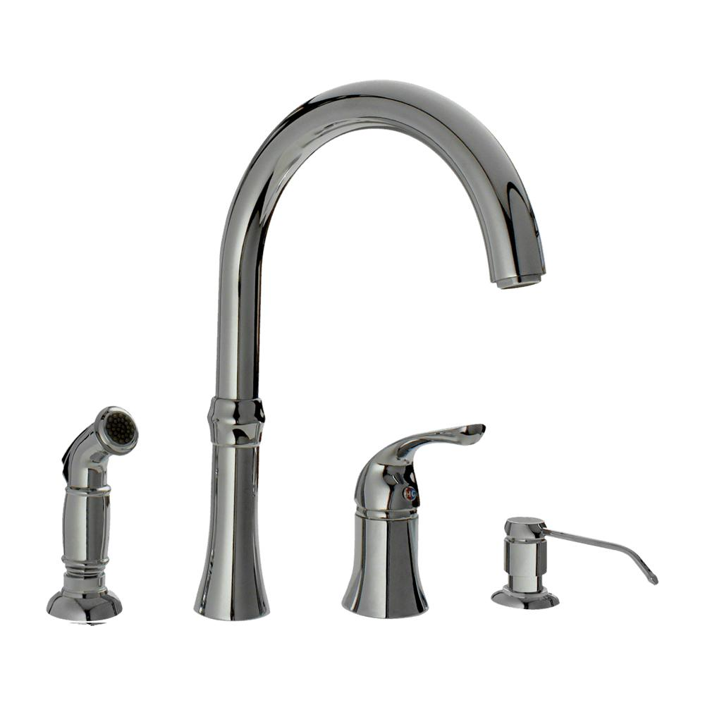 Mr Direct 4 Hole Single Handle Standard Kitchen Faucet With Side