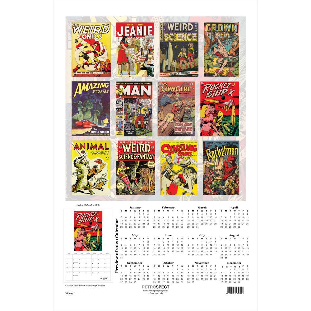19 in  x 12 5 in  Classic Comic Book Covers Calendar-2019 Calendar