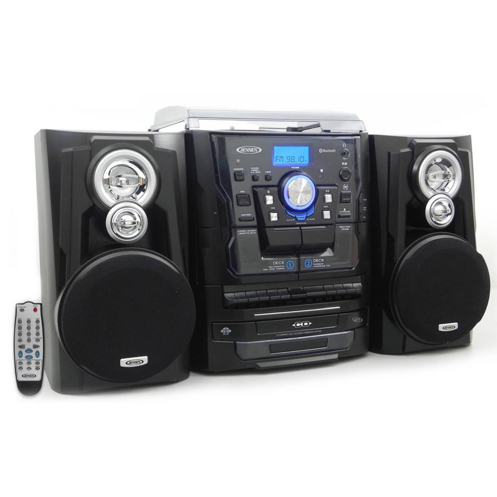 JENSEN Bluetooth 3 Speed Stereo Turntable Music System With 3CD Changer And  Dual Cassette Deck