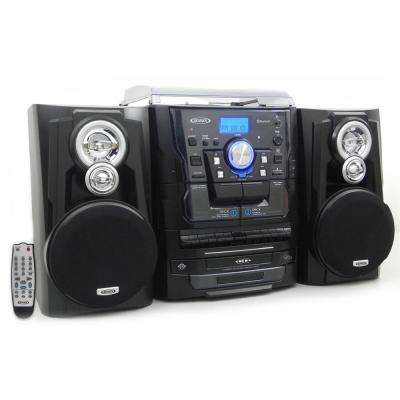 Bluetooth 3-Speed Stereo Turntable Music System with 3CD Changer and Dual Cassette Deck