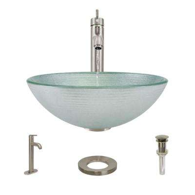 Glass Vessel Sink in Sparkling Silver with R9-7001 Faucet and Pop-Up Drain in Bushed Nickel