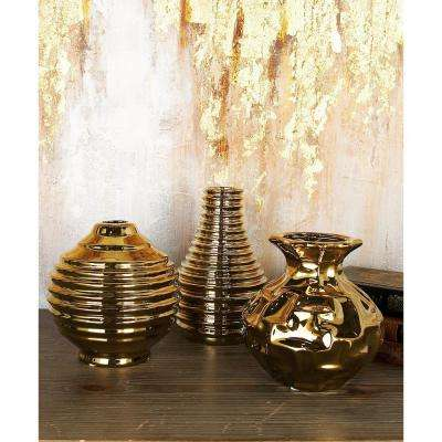 6 in. Modern Aluminum Gold Ceramic Decorative Vases (Set of 3)