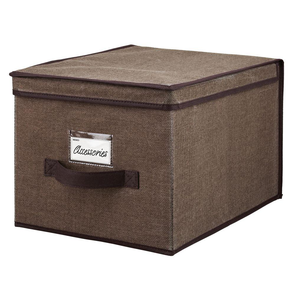 Simplify 16 in. x 10 in. x 12 in. Large Espresso Polypropylene Storage Box