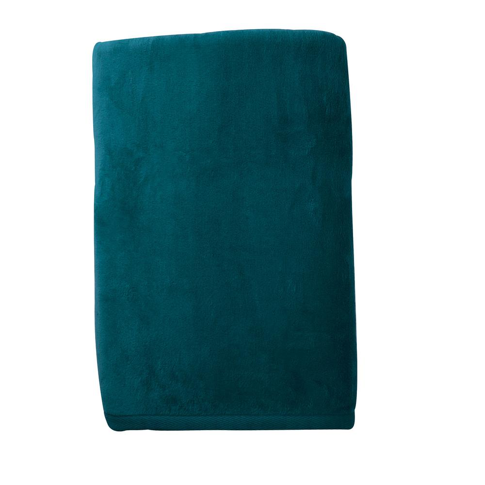 The Company Store Cotton Fleece Teal Full Woven Blanket Ko18 F Teal The Home Depot
