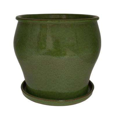 16 in. Dia Solid JS Green Ceramic Studio Planter