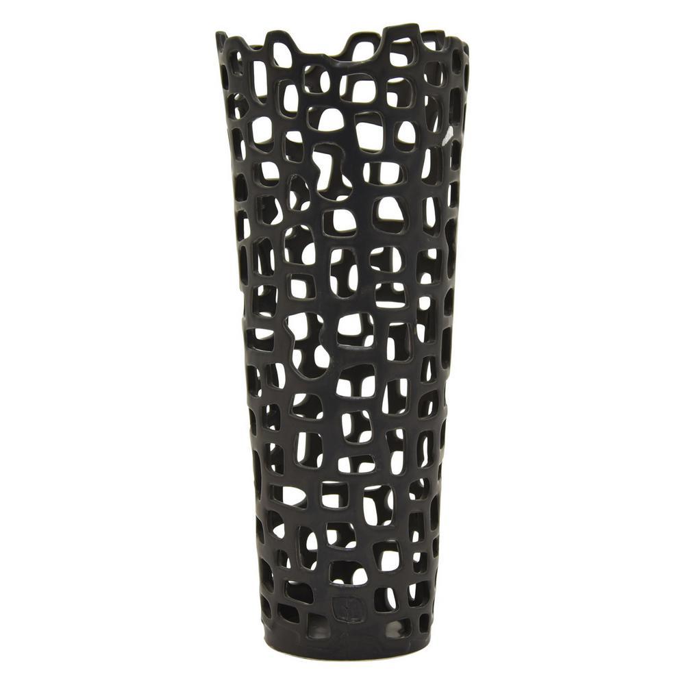THREE HANDS 19 in. Ceramic Vase Black 85278