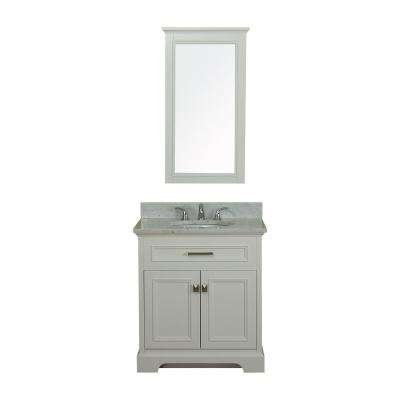 Yorkshire 31 in. W x 22 in. D Vanity in White with Marble Vanity Top in White with White Basin and Mirror