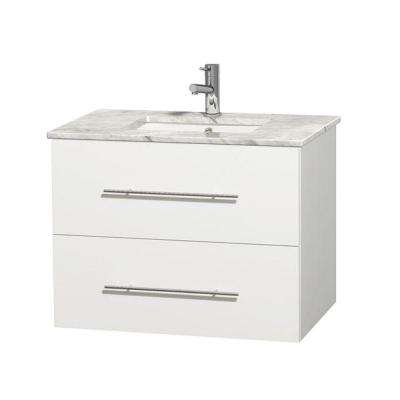 Centra 30 in. Vanity in White with Marble Vanity Top in Carrara White and Undermount Sink