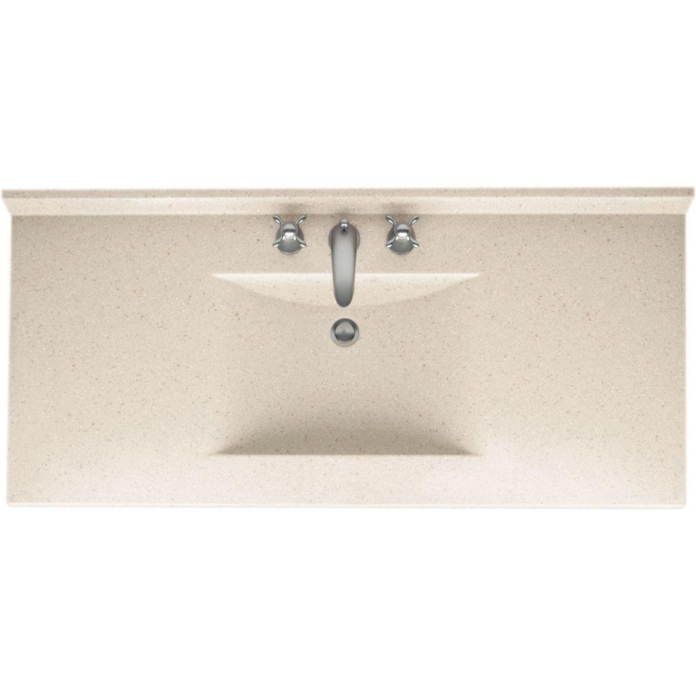 Swan Contour 49 in. W x 22 in. D x 10-1/4 in. H Solid-Surface Vanity Top in Tahiti Sand with Single Bowl