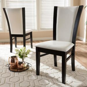 5 Baxton Studio Adley White And Dark Brown Faux Leather Dining Chair