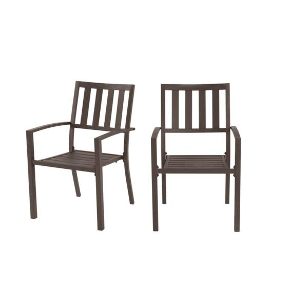 Stylewell Mix And Match Dark Taupe Steel Stackable Slat Outdoor Dining Chairs 2 Pack Fss60508i2pkbr The Home Depot