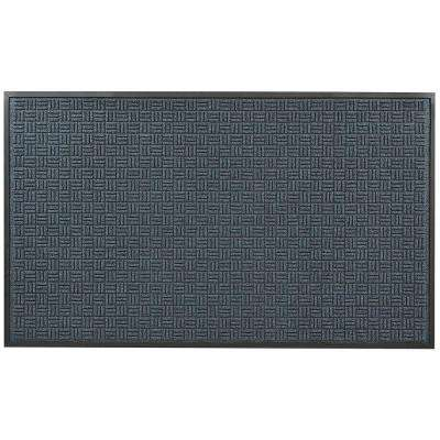 Portrait Blue 36 in. x 120 in. Rubber-Backed Entrance Mat