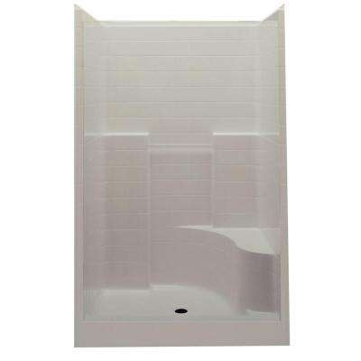 Everyday 60 in. x 35 in. x 76 in. 1-Piece Shower Stall with Right Seat and Center Drain in Bone