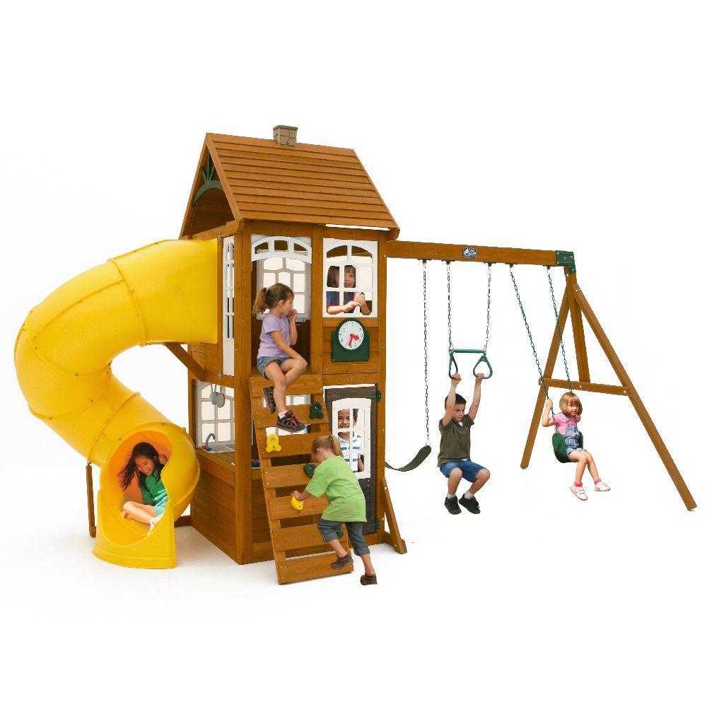 KidKraft Creston Lodge Wooden Swing Set